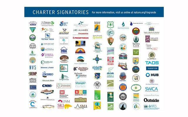 Graphic collage of 100 logos--all signatories for the Rio Grande Water Fund.