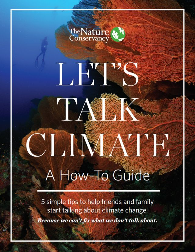 "The cover of e-book, ""Let's Talk Climate."""