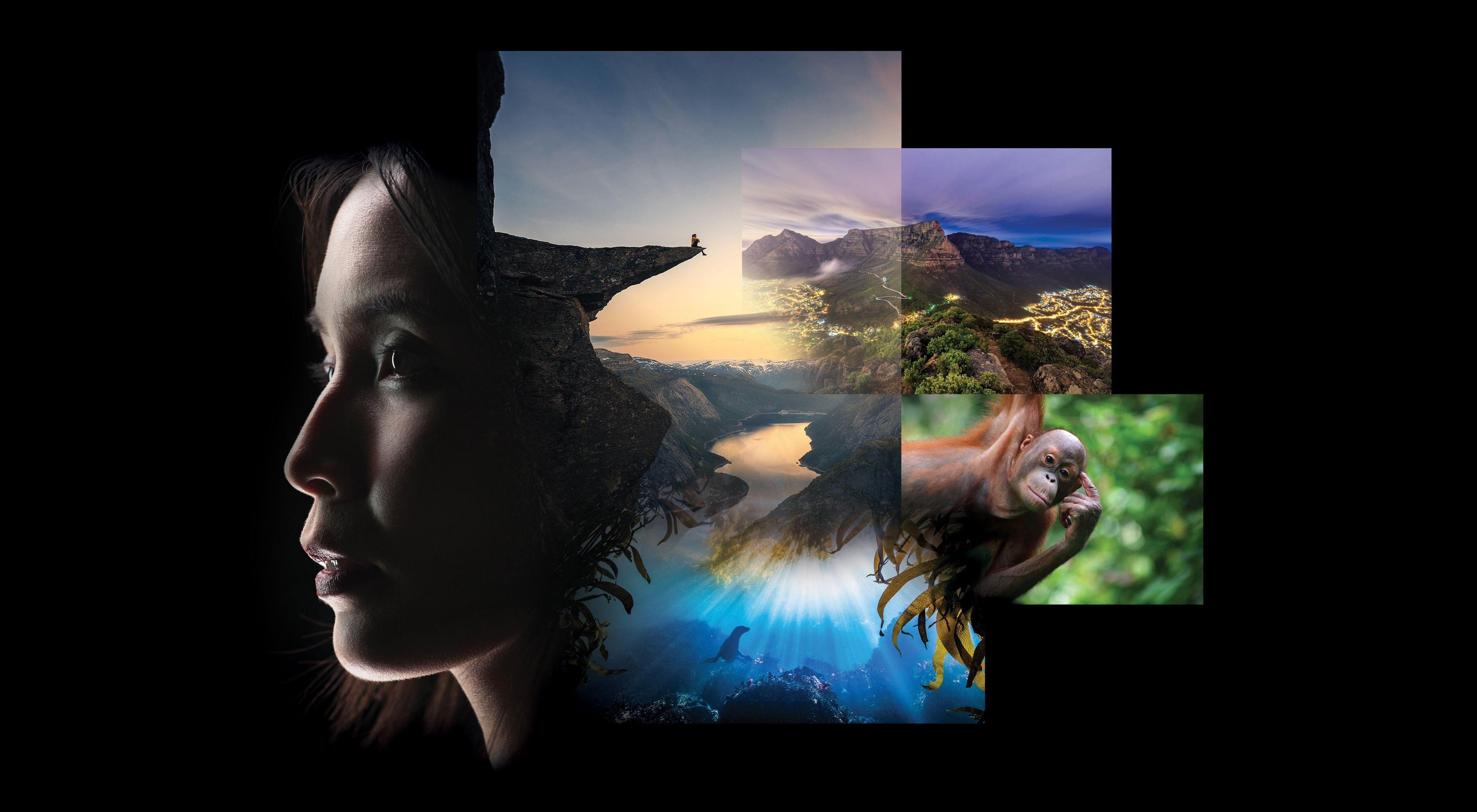 Composite image of natural scenes and a woman's face.