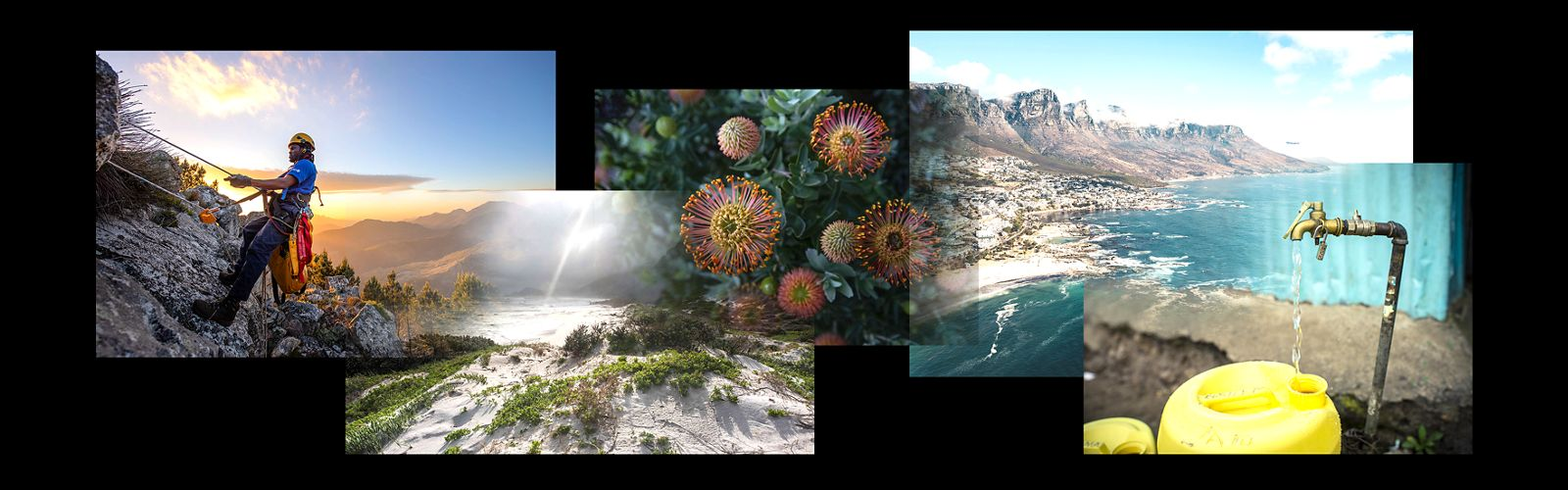 a collage of photos showing scenes from Cape Town, South Africa, including a worker scaling a mountain, landscape scenes, and a water spigot, against a black background