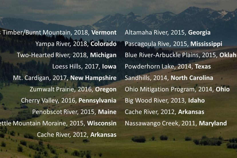 Sampling of major land and water protection projects driven by The Nature Conservancy's U.S. state chapters.