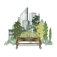 A color illustration of a park bench in a city.