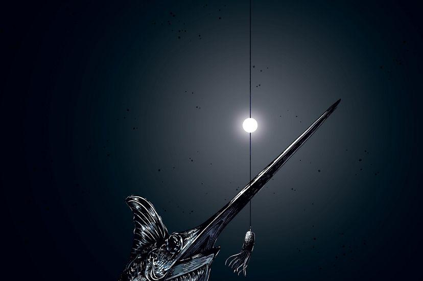 A swordfish in the dark depths of the ocean circles near a lighted bait hook.