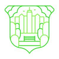 an illustration of park badge with a city skyline