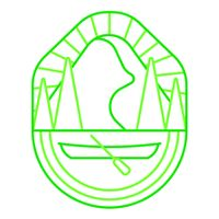 an illustration of park badge with a mountain and canoe