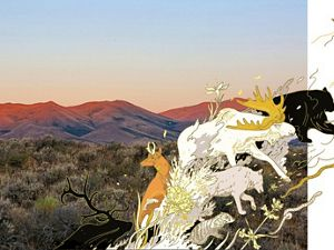 Illustrated animals travel across a photo of mountains and forests.