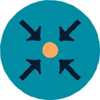 icon with four arrows pointing into center at a circle