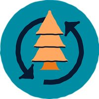 icon with a tree surrounded by two cyclical arrows