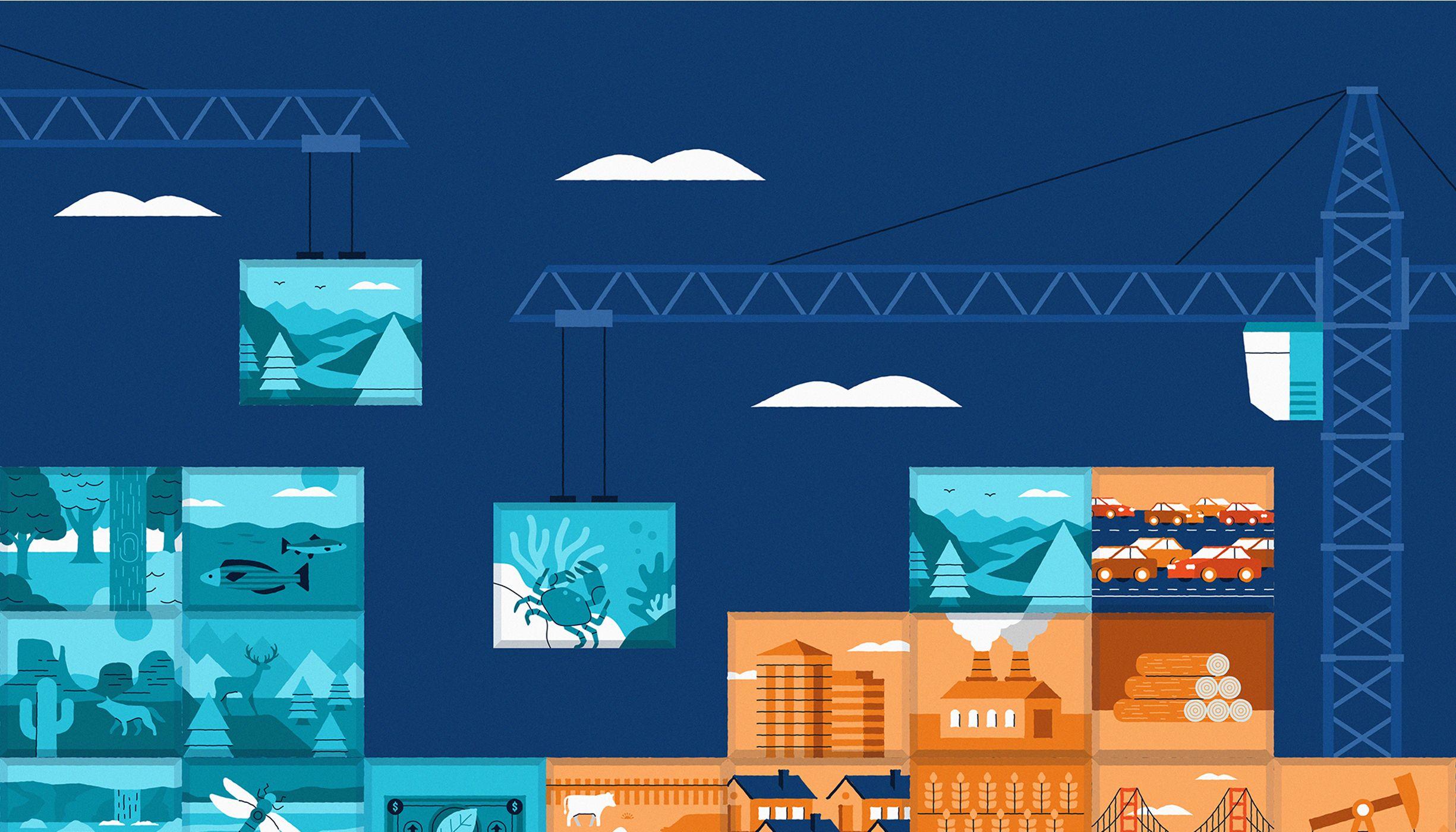 Ilustración de bloques de construcción que representan escenas naturales y escenas humanas, como edificios, apilados junto con una grúa