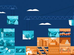 illustration of building blocks representing natural scenes and human scenes such as buildings, being stacked together with a crane