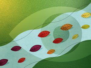 Ilustración de un ojo superpuesto a un arroyo con un arco iris de hojas fluyendo a través de él