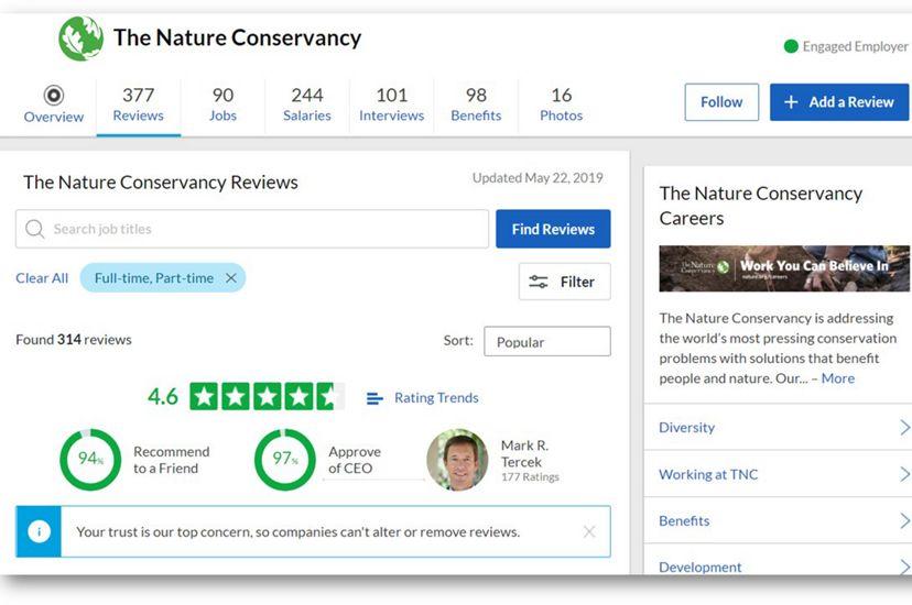 The Nature Conservancy's GlassDoor webpage (screenshot)