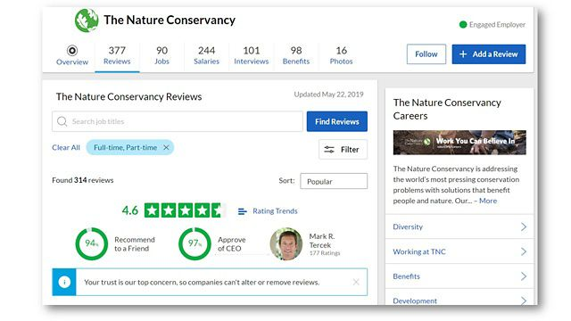 The Nature Conservancy's GlassDoor webpage (screenshot)