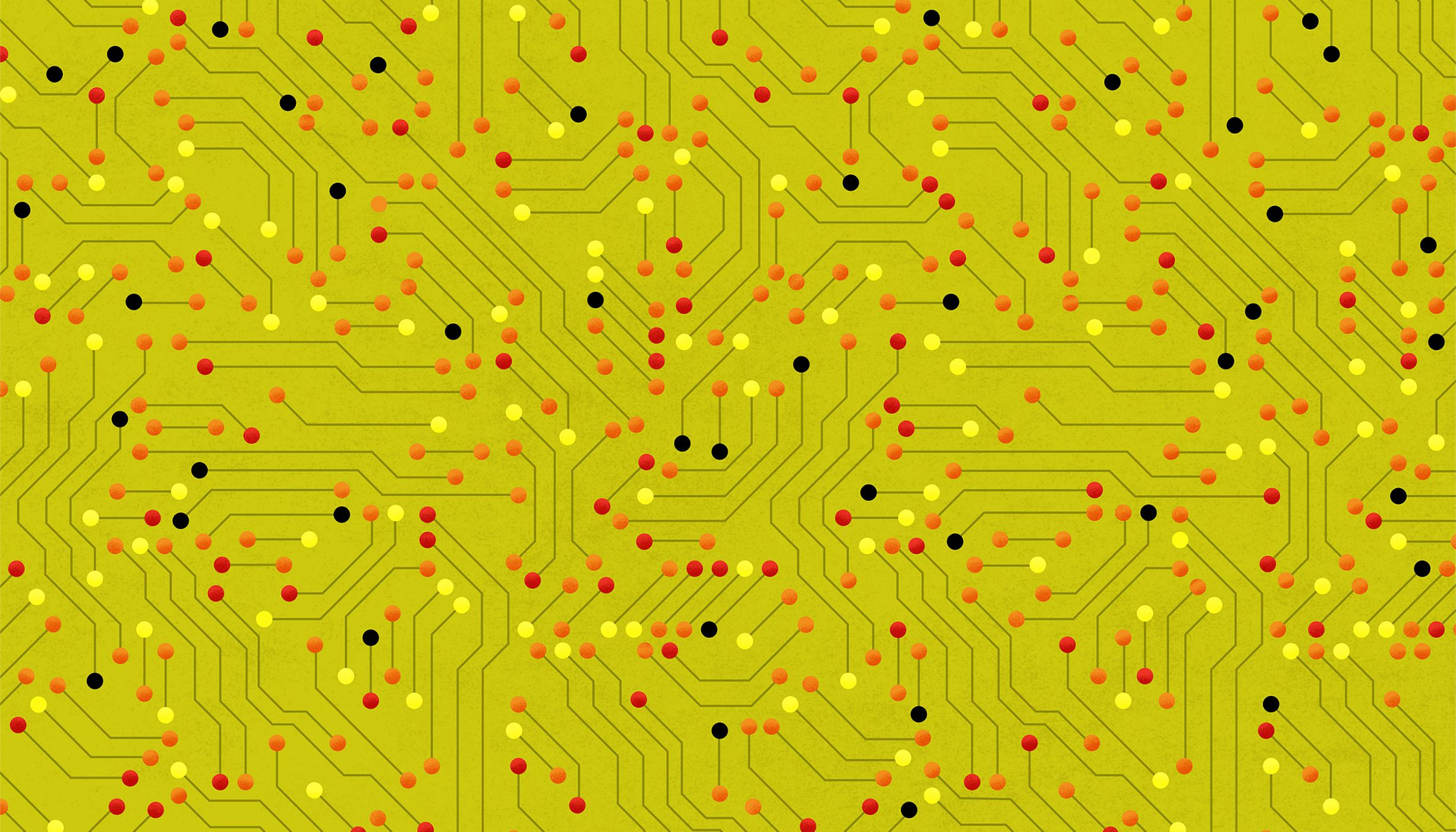an abstract pattern based on a circuit board, with red, orange, and yellow nodes and a green background