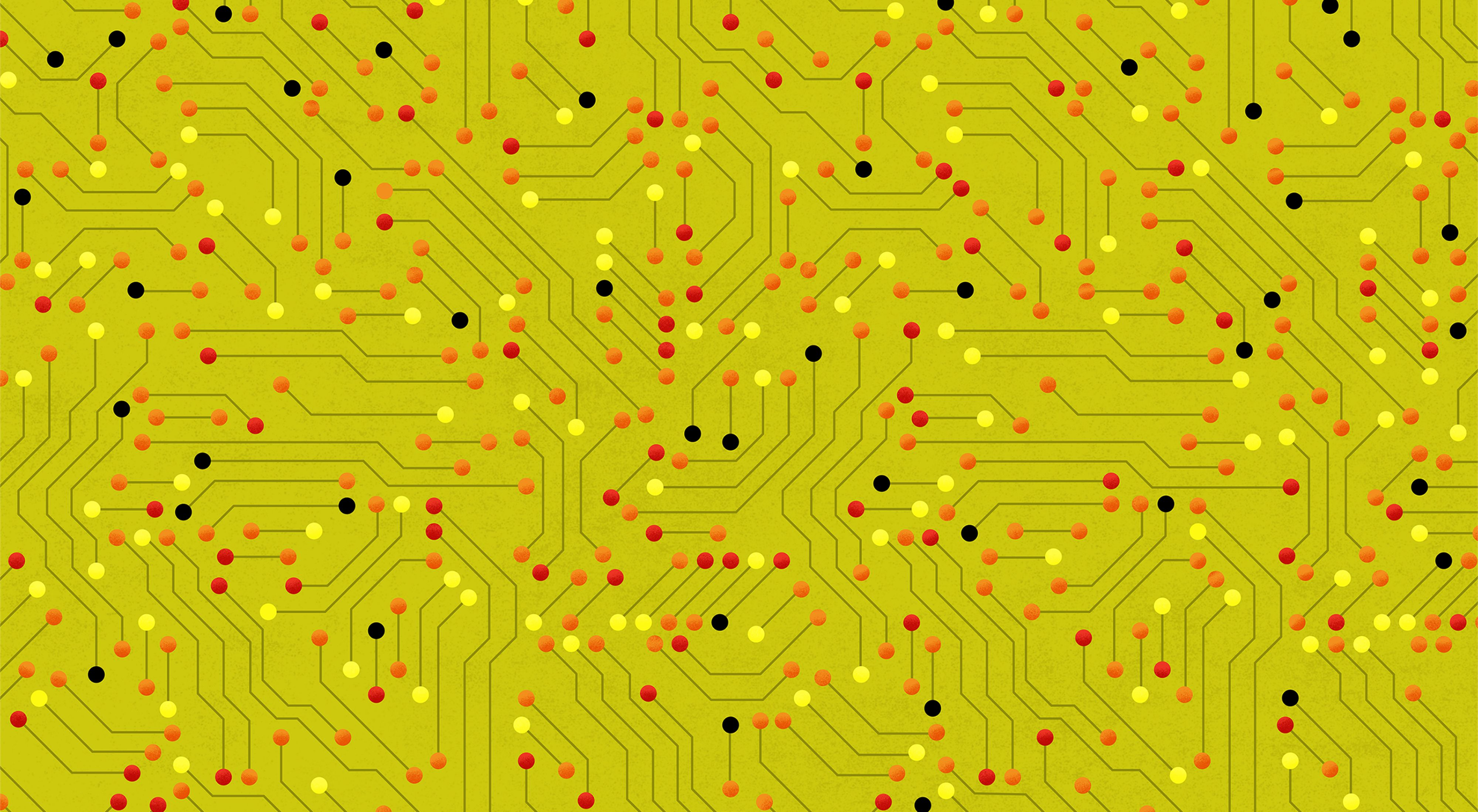 An abstract pattern based on a circuit board, with red, orange, and yellow nodes and a lime green background