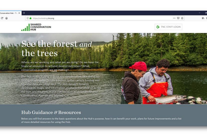 The Nature Conservancy's Shared Conservation Hub (screenshot).