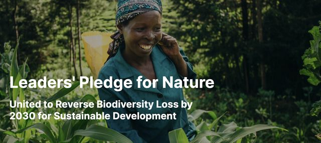 A smiling woman farms in a field, with text over photo that reads 'Leaders Pledge for Nature'