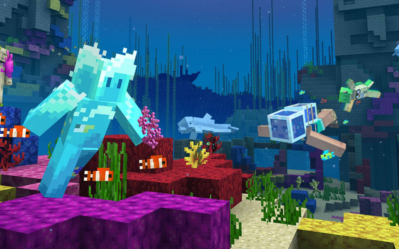 Microsoft Minecraft's Coral Crafter Skin Pack proceeds go to The Nature Conservancy.