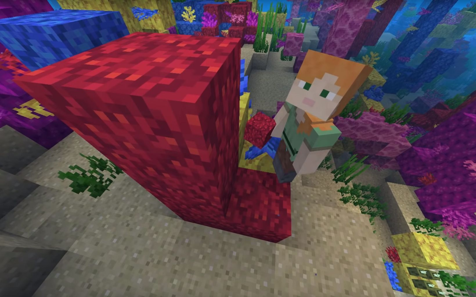 Minecraft's in-game oceans include five new coral reefs to build – staghorn, brain, fire, bubble and tube.
