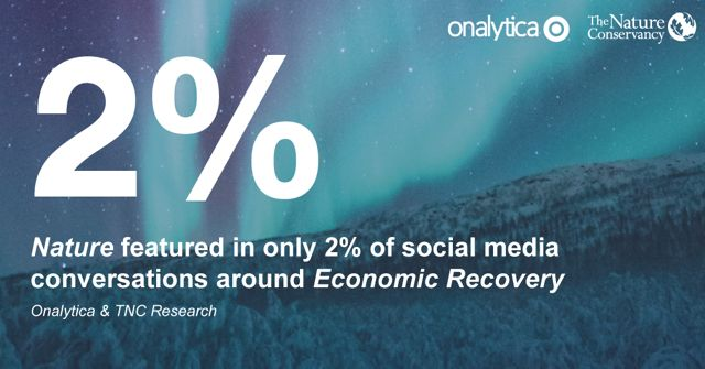 text over image of northern lights that reads '2 percent: nature featured in only 2 percent of social media conversations around economic recovery'