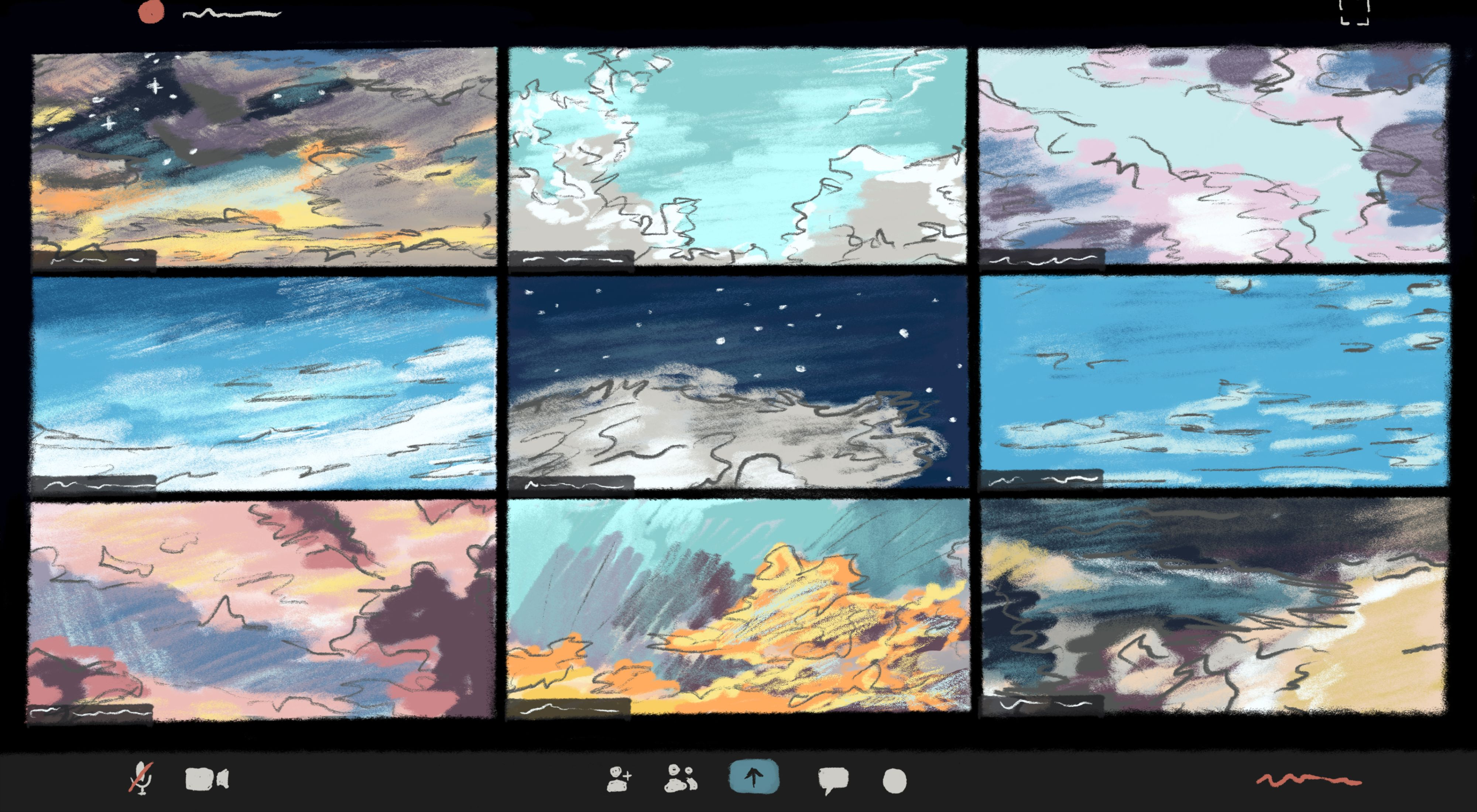 An illustration of a video chat interface with different sky scenes in the video frames against a black background.