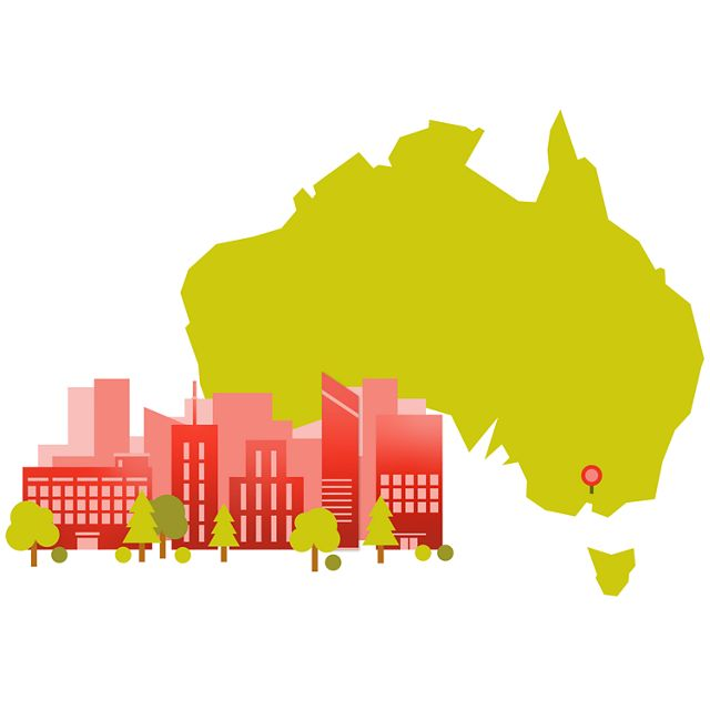 illustration with outline of australia and city skyline