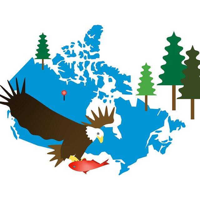 Illustration with outline of Canada, eagle, fish & tree
