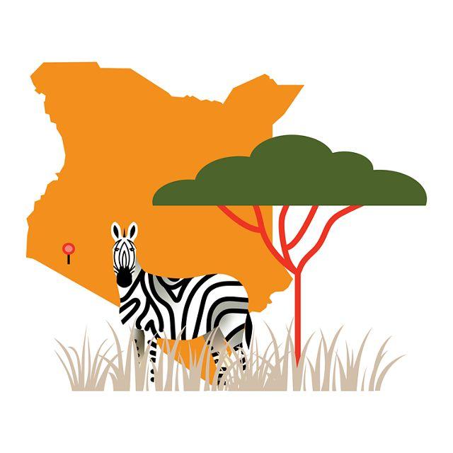 illustration with outline of Kenya, acacia tree & zebra