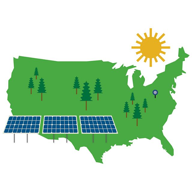 illustration with outline of U.S, solar panels and tree
