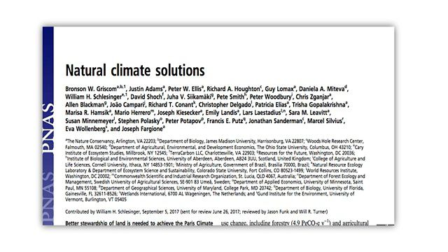 Paper published in PNAS on Natural Climate Solutions.