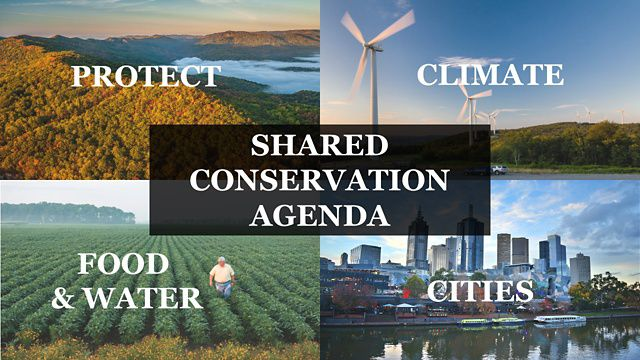The Nature Conservancy priorities: protect land and water, tackle climate change, provide food and water sustainably, and bu