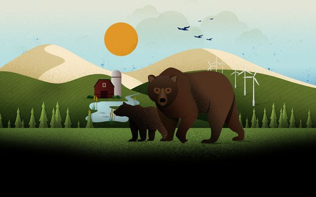An illustration of two bears with wind turbines and forests in the background.