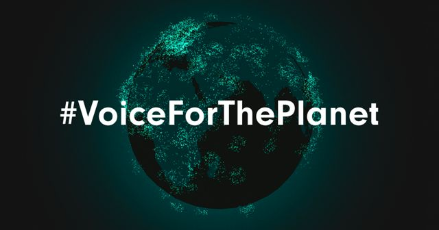 A glowing globe graphic with green lit up dots all around to symbolize voices