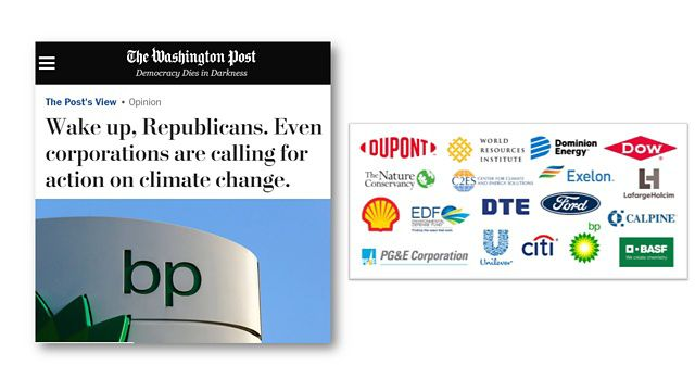 Washington Post op-ed and names of CEOs in the CEO Climate Dialogue.
