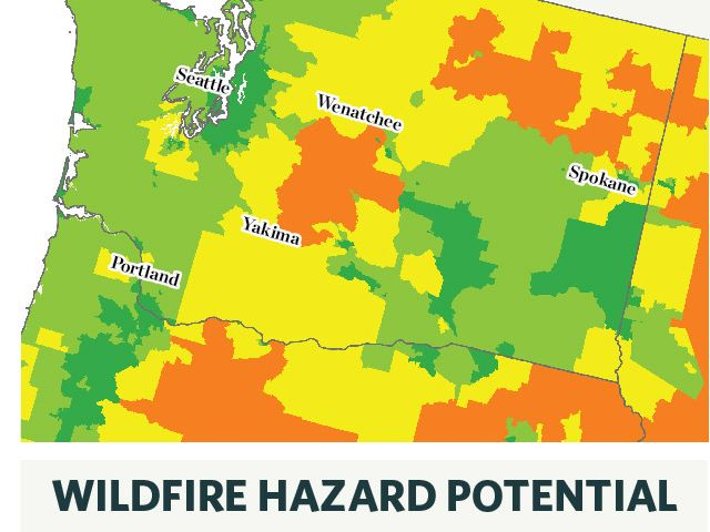 This map on the left shows wildfire potential across Washington, considering factors such as burnable fuels on the landscape, vegetation, weather and historic fire activity. This map on the right adds socioeconomic considerations to show wildfire vulnerability as a measure of how likely an area is to adapt and recover. (Gray represents places where hazard is low.)