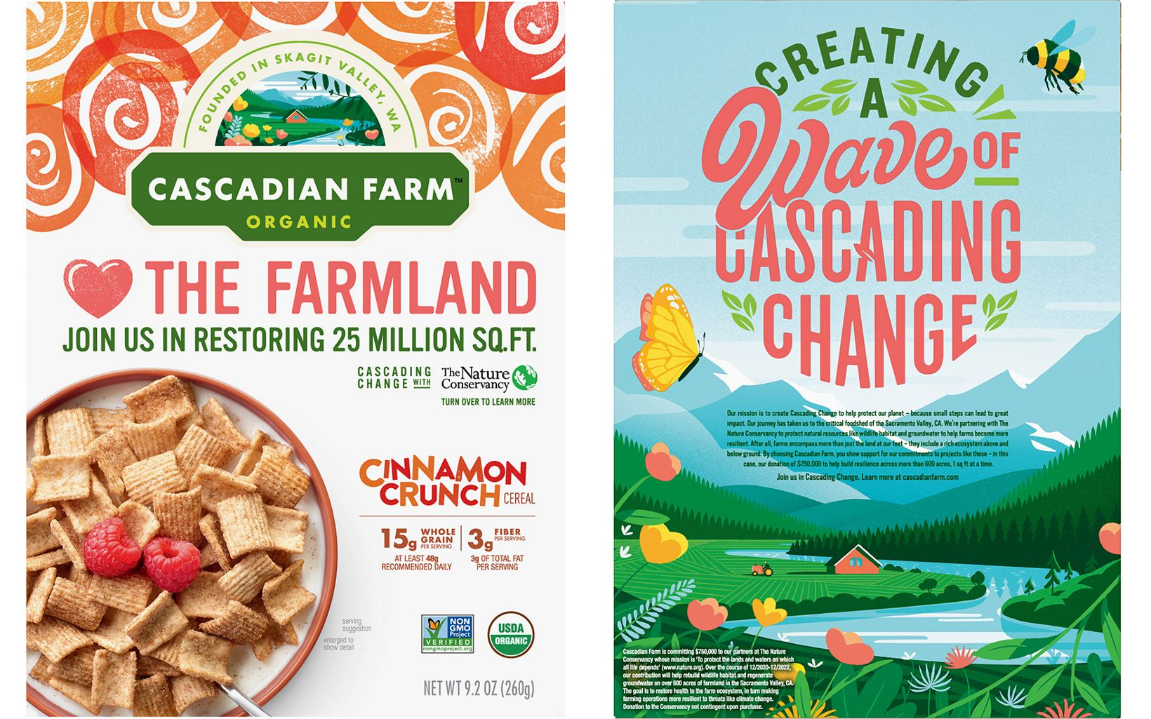 Cascadian Farm is helping bring awareness to the partnership with TNC on select product packages through March 2023.