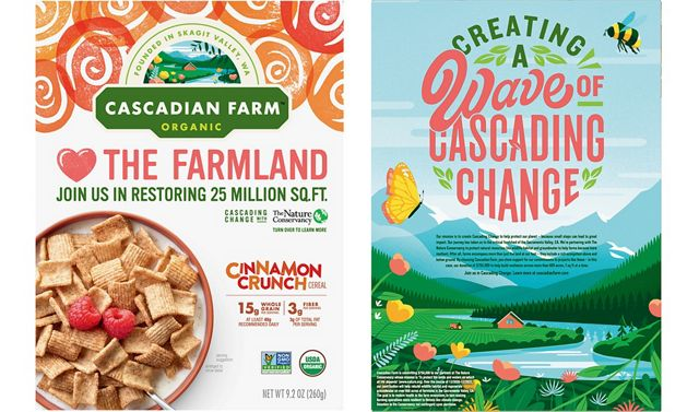 Cascadian Farm is helping bring awareness to the partnership with TNC with on-pack messaging on all products in 2021 and 2022.