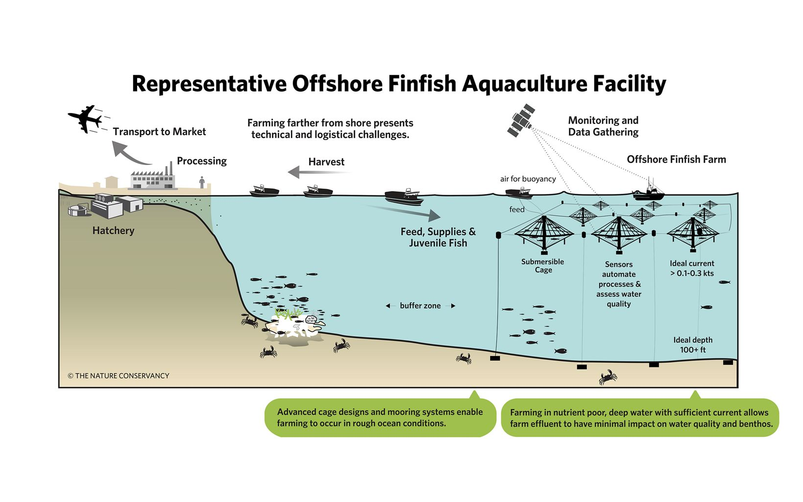 Offshore finfish farming has the potential to provide another sustainable and scalable alternative to near-shore aquaculture and is likely to constitute an important subset of overall sector growth.