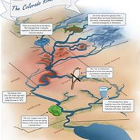 A schematic map showing the Colorado River.