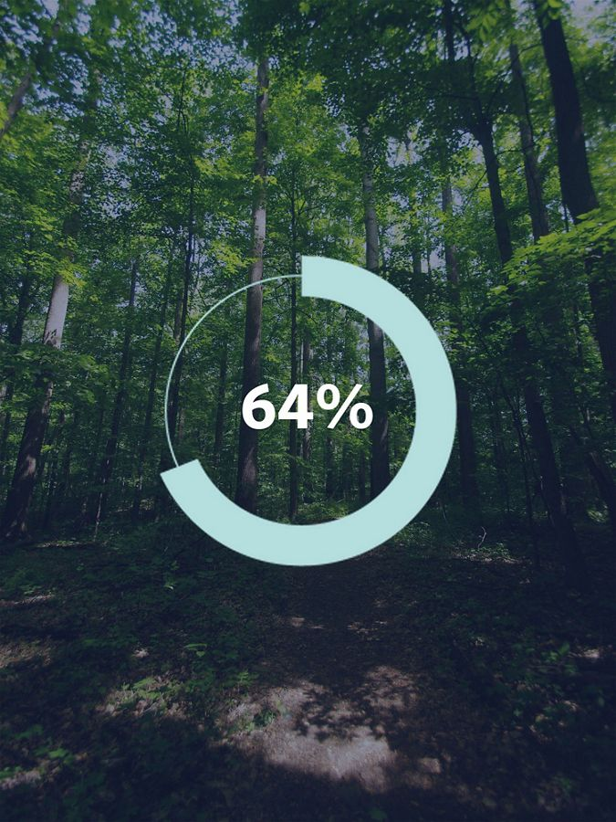 Graphic showing a tree and the number '64%'.