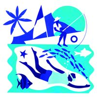 An illustration of people fishing and diving