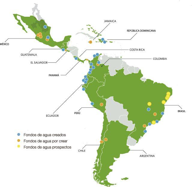 Mapa de la ubicación de los fondos de agua