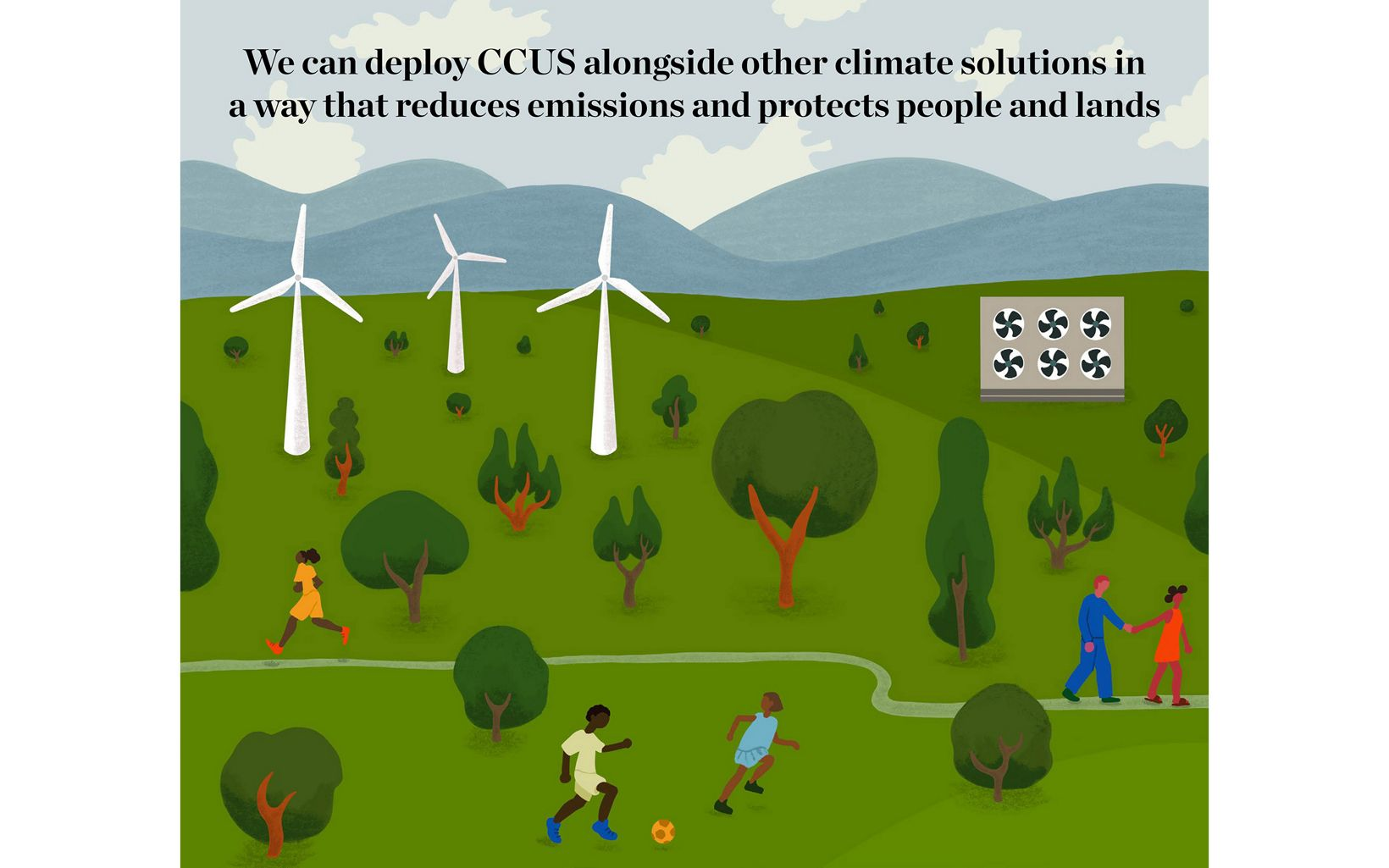 Illustration of an outdoor scene showing wind turbines, trees, mountains and people recreating in the foreground.