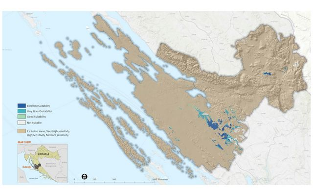map showing area of suitability for wind power in Croatia