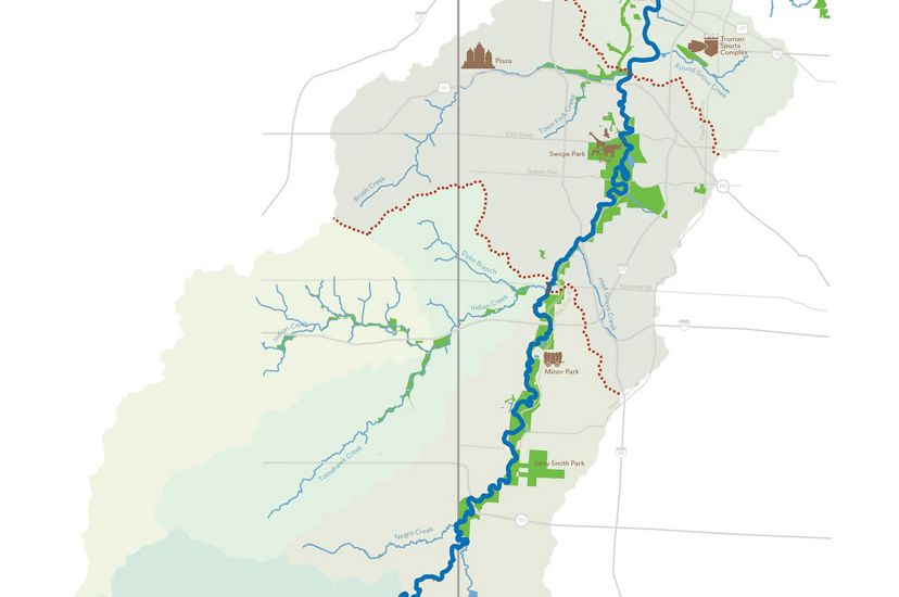 A map of the Blue River beginning in Johnson County, Kansas and flowing northeast through Kansas City, Missouri.