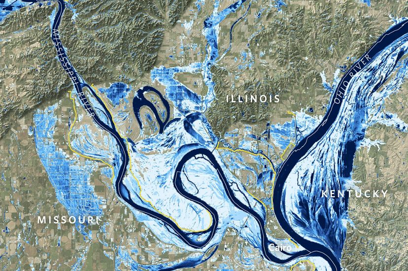 Map of the Mississippi River near Cairo, Illinois showing frequency of flooding in blue.