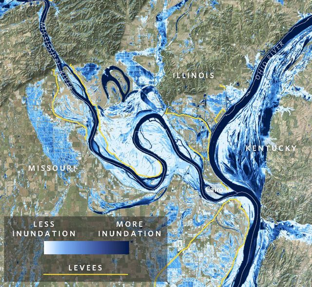 A map of the Mississippi River near Cairo, Illinois, shows areas that have been inundated in blue.
