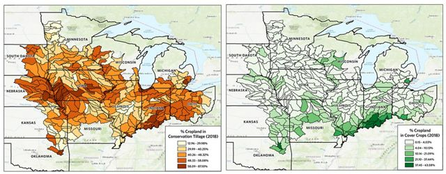 Two maps showing amounts of cover crops and conservation tillage across the Corn Belt.