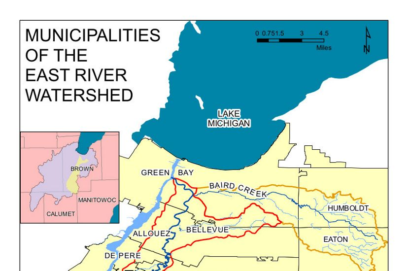 A map shows how the East River runs through Holland, Wrightstown, Rockland and Bellevue to join the Fox River in Green Bay. The Fox River then runs into Lake Michigan.