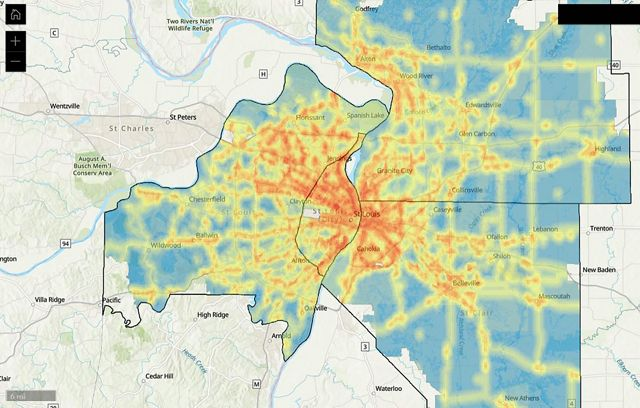 Map of St. Louis shows area with poorer air quality in red and yellow.